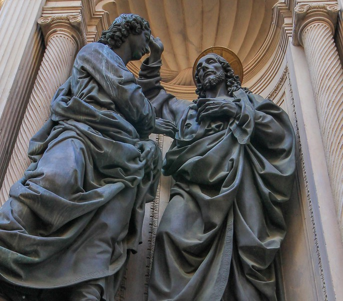 The Church of Orsanmichele in Florence has several of these impressive sculptures outside just above ground level.