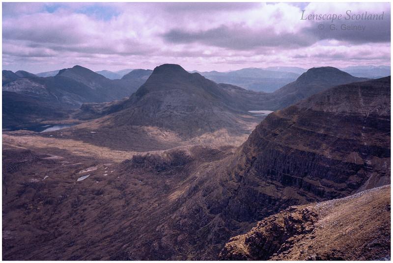 Sgorr Ruadh, Maol Chean-dearg & An Ruadh Stac from Beinn Damh (scanned from a 1999 slide)