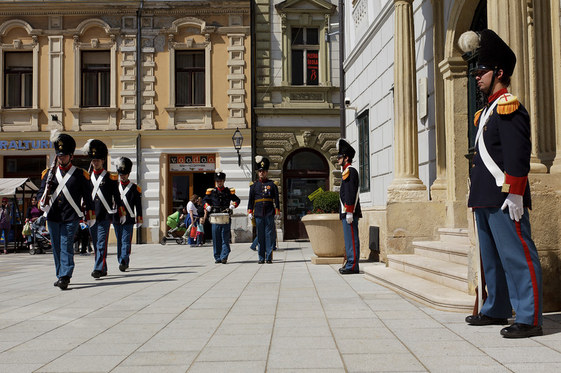 Change of guards in front of the Varazdin City Hall, Croatia