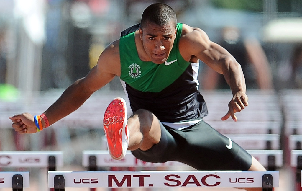 . Ashton Eaton finished third in the 110 meter hurdles invitational elite during the Mt. SAC Relays in Hilmer Lodge Stadium on the campus of Mt. San Antonio College on Saturday, April 20, 2012 in Walnut, Calif.    (Keith Birmingham/Pasadena Star-News)