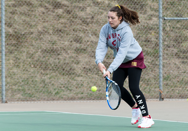 04/02/19 Wesley Bunnell | Staff New Britain girls tennis took on Wilcox Tech in their first matches of the season on Tuesday afternoon. Audrey Belliveau.