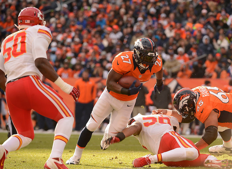 . Denver Broncos running back Knowshon Moreno (27) makes a run in the first quarter as the Denver Broncos took on the Kansas City Chiefs at Sports Authority Field at Mile High in Denver, Colorado on December 30, 2012. John Leyba, The Denver Post