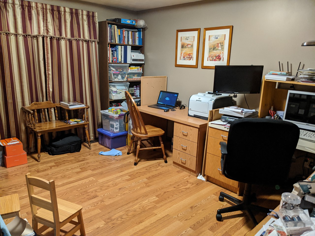 My cleaned-up at-home office, with second desk and library-loaner laptop at the ready, March 16, 2020