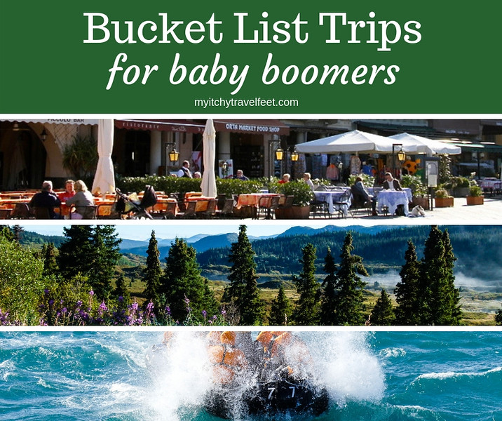 Collage of photos inspiring bucket list trips for baby boomers.
