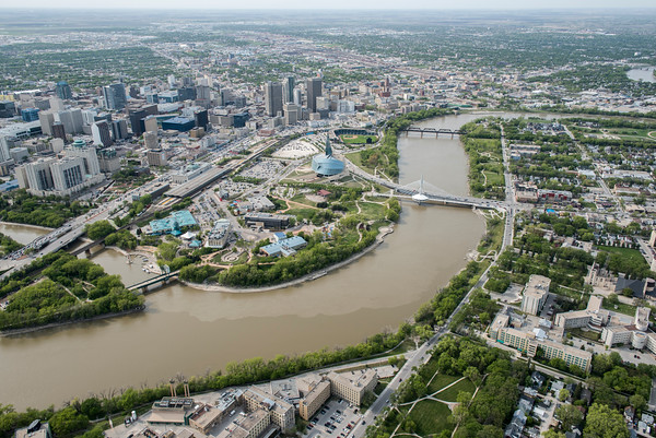 DAVID LIPNOWSKI / WINNIPEG FREE PRESS  Downtown Winnipeg, including Canadian Museum for Human rights, and Esplanade Riel  Aerial photography over Winnipeg May 18, 2016 shot from STARS helicopter.