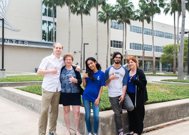 Island ambassador Anuja Dhakal (center) leads a campus tour through Anchor Plaza.