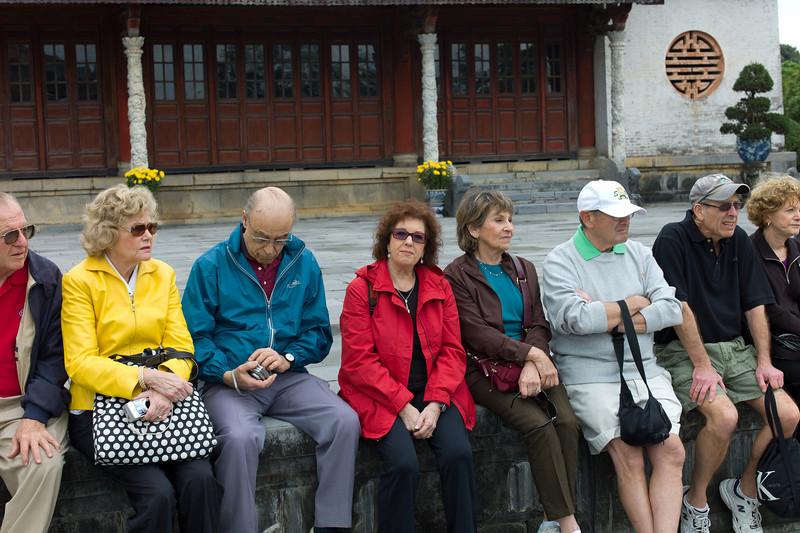 Our Tauck Tour group at Hue Citadel / Imperial City, Hue, Vietnam: Joe Van De Water, Kitty Walker, Jerry Kasoff, Linda Kasoff, Susan Rein, Burt Rein, Mark Aronowitz, Fran Aronowitz.