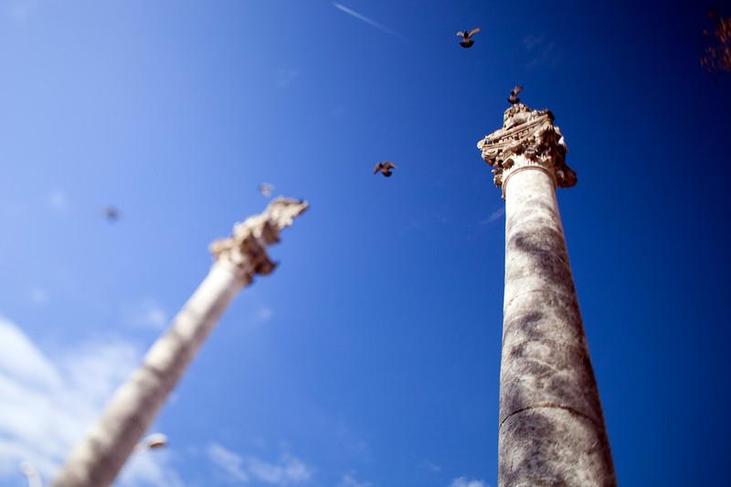 Roman columns, Alameda de Hercules square, Seville, Spain. Tilted lens used for shallower depth of field.