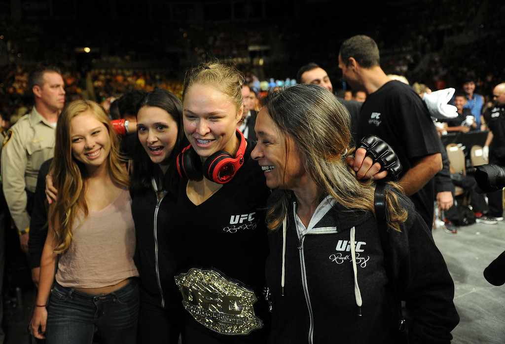 . UFC Women\'s Bantamweight Champion Ronda Rousey walks to the locker room after defeating  challenger Alexis Davis 16 seconds in to the first round during UFC 175 at the Mandalay Bay Events Center July 5, 2014. (Photo by Hans Gutknecht/Los Angeles Daily News)