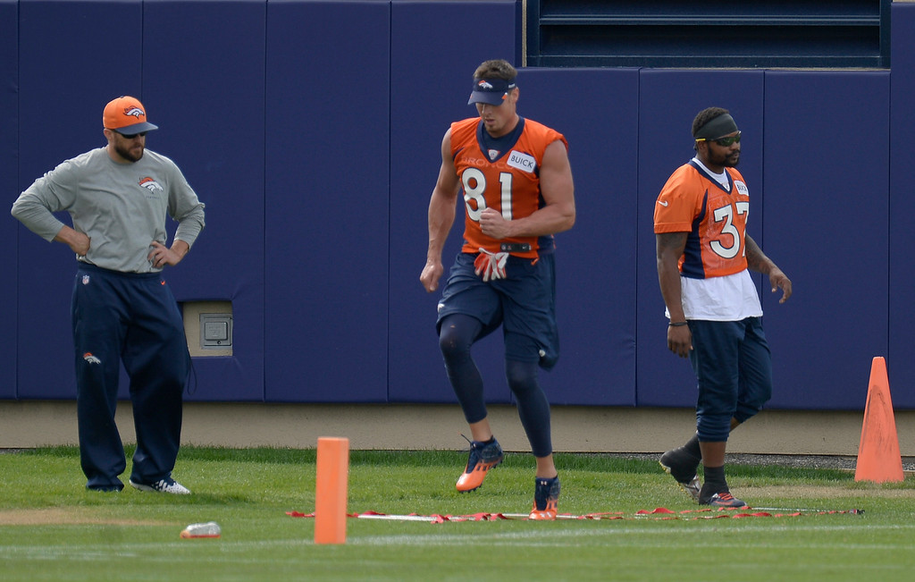 . Denver Broncos tight end Joel Dreessen (81) and Denver Broncos running back Jeremiah Johnson (37) workout during practice August 23, 2013 at Dove Valley (Photo by John Leyba/The Denver Post)