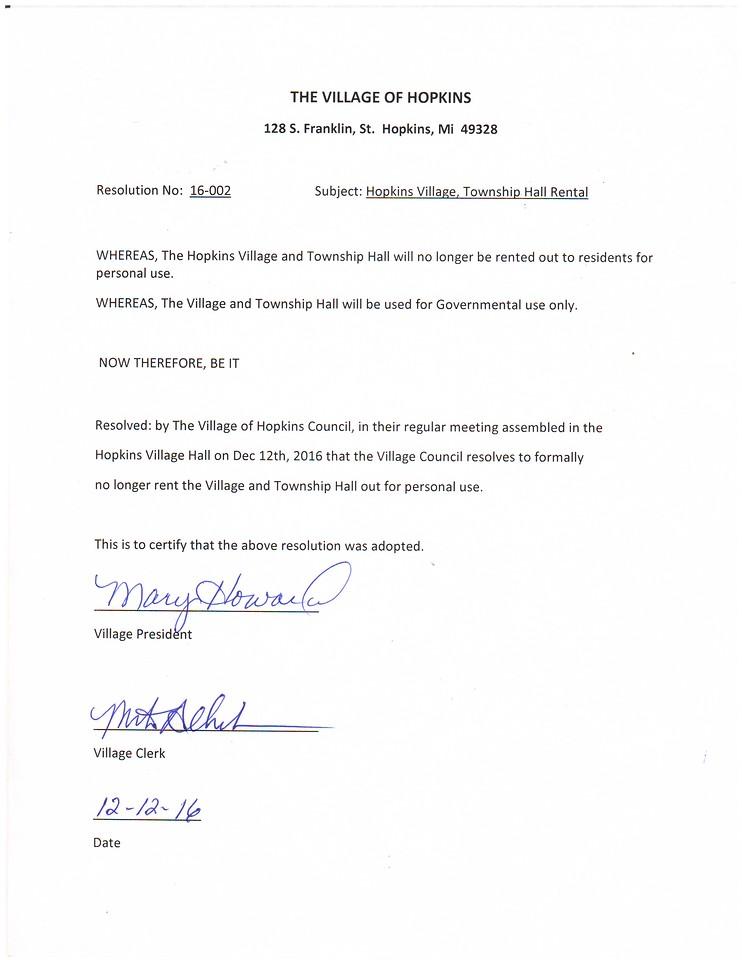 Resolution 2016-02 Hall Rental