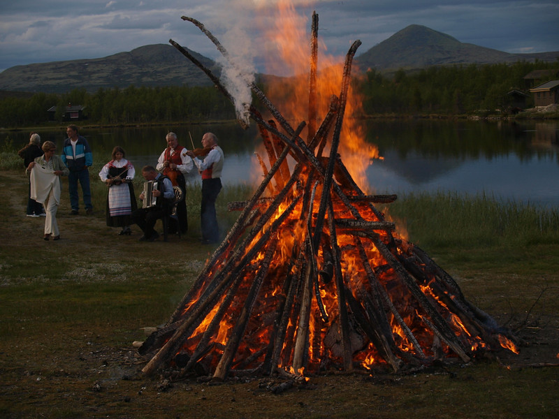 Mid summer bon fire in Ringebu mountains