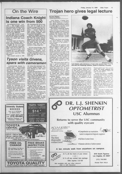 Daily Trojan, Vol. 108, No. 3, January 13, 1989