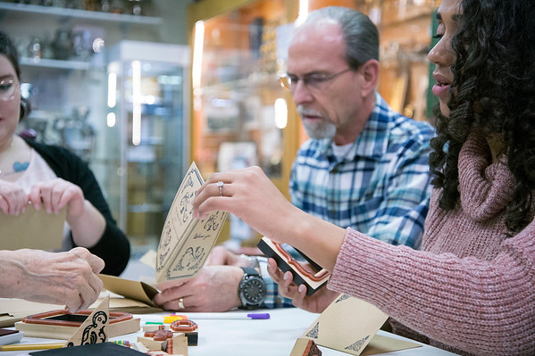 02/13/20 Wesley Bunnell | StaffrrThe New Britain Industrial Museum held a special craft making session on Thursday afternoon in honor of Valentine's Day. The session featured making stamped cards with New Britain themes as well as refreshments. Kaylah J. Smith of the Community Fund of Greater New Britain works on a card.
