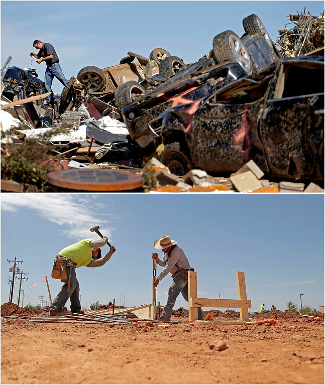 . In this photo combination, Farmers Insurance worker Paul Gaipo looks through tornado-damaged cars to determine which company insured the vehicles at a destroyed strip mall on May 22, 2013, in Moore, Okla., top, and workers prepare footings for a new business building near the site on May 8, 2014, bottom. (AP Photo/Charlie Riedel)