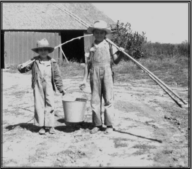 . Here�s RED HOT GRAMS, with a picture from 1945: �My little brother Johnny (right) and nephew Lyle spent many a summer day down at the creek by our southern-Nebraska farm, fishing for sunnies. They used fat worms for bait and the bucket to carry the fish home. (I was a little older, and raised the worms on sour milk and coffee grounds.) It was brought to mind as we just had a family reunion in St. Paul Park, and drove back down to the old farm in Nebraska to see relatives. Johnny (now John) is now 70, and Lyle is 68. A joy to remember!�