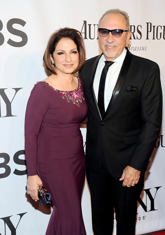 . Gloria Estefan, left, and Emilio Estefan arrive at the 68th annual Tony Awards at Radio City Music Hall on Sunday, June 8, 2014, in New York. (Photo by Charles Sykes/Invision/AP)