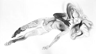 """Illuminated Woman"" (graphite) by Michele Benzamin-Miki"