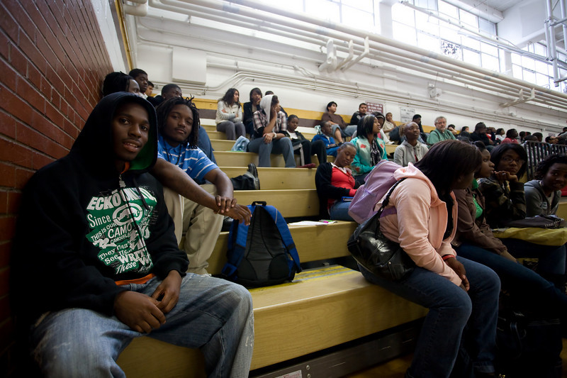 West Meck students (left to right) Quez Alexander (senior) and Barrett Blue (junior) await Jason Richardson's appearance.
