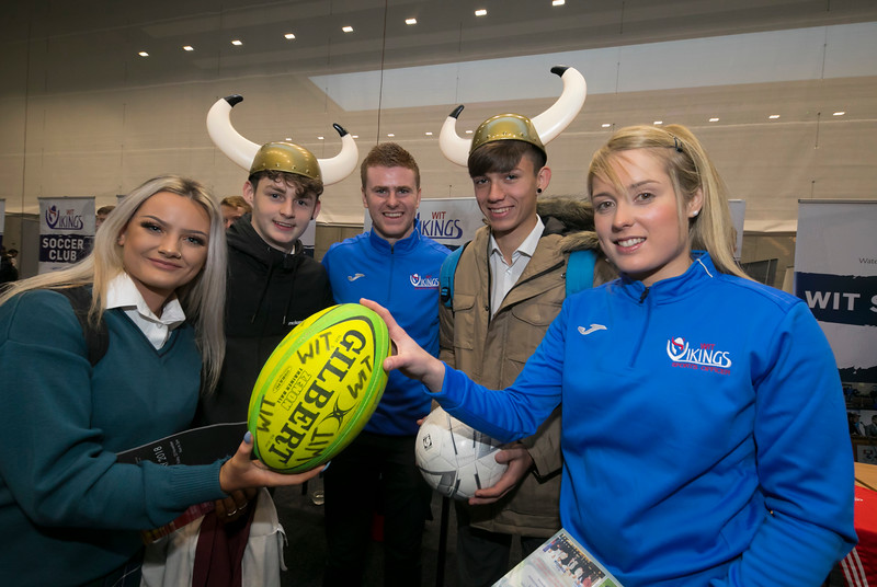 FREE TO USE IMAGE. Pictured at WIT's Autumn Open Days in the WIT Arena are Emily Kelly, Mathew Quilty, Wojtek Spyra from Ard Scoil na Mara, Tramore with Tom Grinsell and Katie Redmond from the Dept of Sport . Picture: Patrick Browne  WIT's Autumn Open Days in the WIT Arena were on Friday, 23 November and Saturday, 24 November 2018. The Schools Open Day on Friday attracted thousands of secondary school students.  The event focused on undergraduate entry for September 2019 but also showcases the opportunities for postgraduate learning and research and flexible study through our School of Lifelong Learning & Education.  The institute has 70 CAO courses across a range of discipines including,business,engineering and architecture, sports and nursing, law, social sciences, arts and psychology, the creative & performing arts, languages, tourism and hospitality, science and computing.   WIT's Autumn Open Days included presentations on all CAO courses, including new courses for 2019, as well as the opportunity to experience what it would be like to study on those courses and talk to lecturers directly.