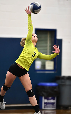 11/1/2019 Mike Orazzi | StaffrBristol Easterns Rebecca Bender (3) on senior night during Friday night's girls volleyball match with Lyman Memorial in Bristol. r