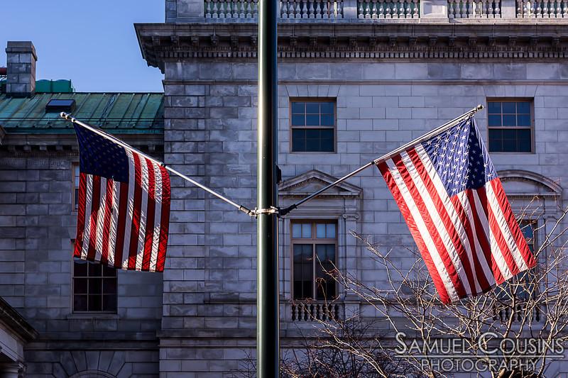 Flags on Congress St near City Hall.