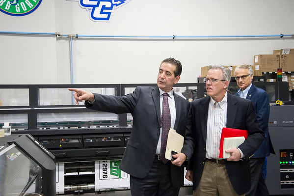 02/10/20 Wesley Bunnell | StaffrrCT State Chief Manufacturing Officer Colin Cooper visited Sign Pro, Inc. in Southington on Monday February 10, 2020. Sign Pro President Peter Rappoccio, L, points out different manufacturing going on to Cooper, R.