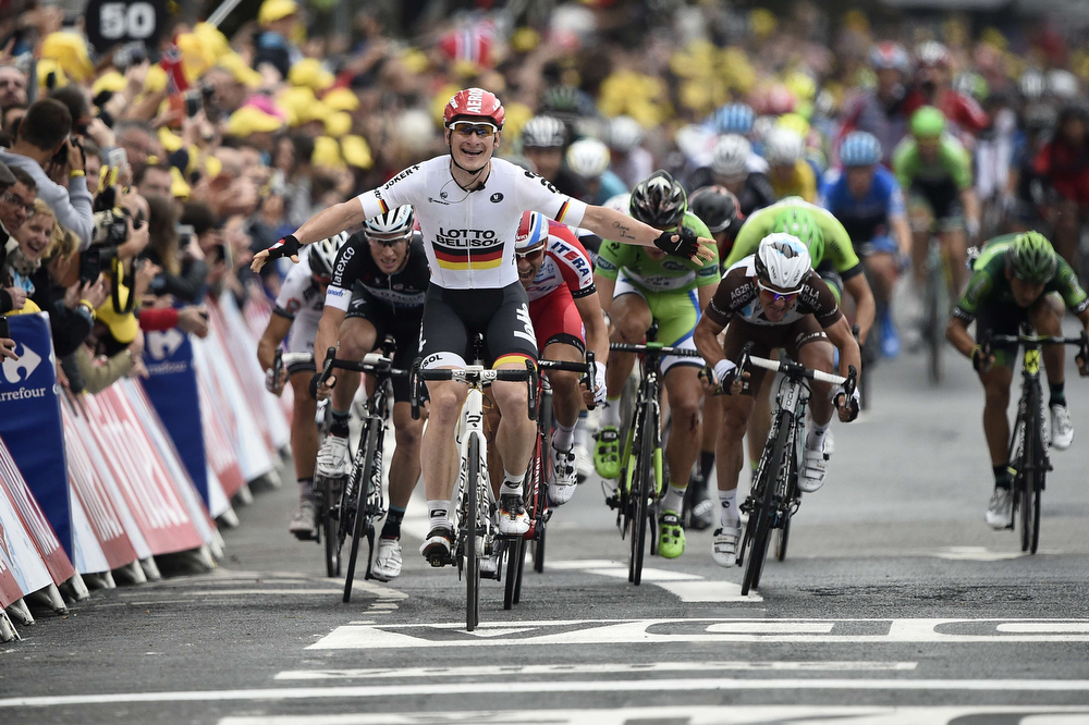 . Germany\'s Andre Greipel celebrates as he crosses the finish line at the end of the 194 km sixth stage of the 101st edition of the Tour de France cycling race on July 10, 2014 between Arras and Reims, northern France. (LIONEL BONAVENTURE/AFP/Getty Images)