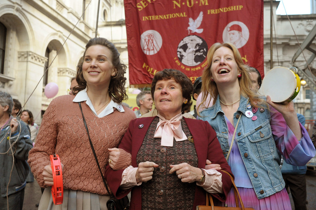 """. This image released by CBS Films shows, from left, Liz White, Imelda Staunton and Nia Gwynee in \""""Pride.\"""" The film was nominated for a Golden Globe for best comedy on Thursday, Dec. 11, 2014. The 72nd annual Golden Globe awards will air on NBC on Sunday, Jan. 11. (AP Photo/CBS Films, Nicola Dove)"""
