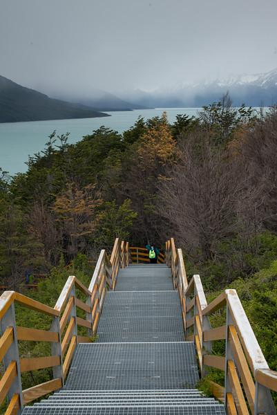 Staircase next to Lake Argentino, Los Glaciares National Park, Santa Cruz Province, Patagonia, Argentina