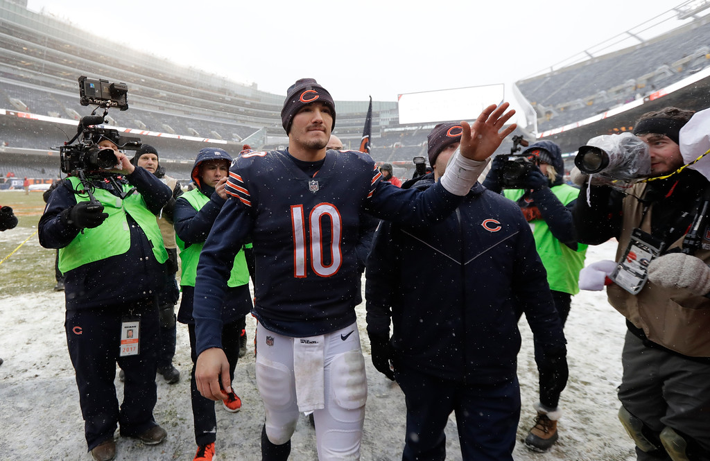 . Chicago Bears quarterback Mitchell Trubisky (10) waves to fans after beating the Cleveland Browns 20-3 in an NFL football game in Chicago, Sunday, Dec. 24, 2017. (AP Photo/Charles Rex Arbogast)