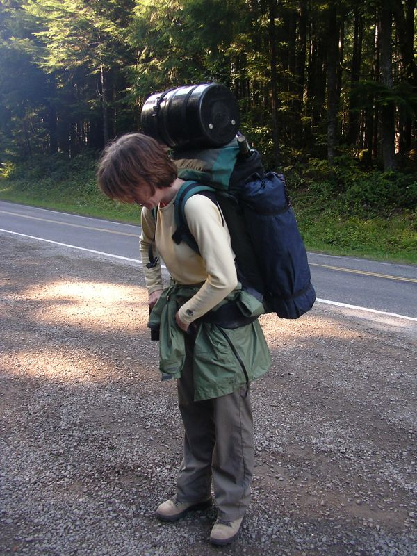 Oh. my. gosh. This pack is heavy. Especially with that bear barrel thingy we rented at the Ranger Station.