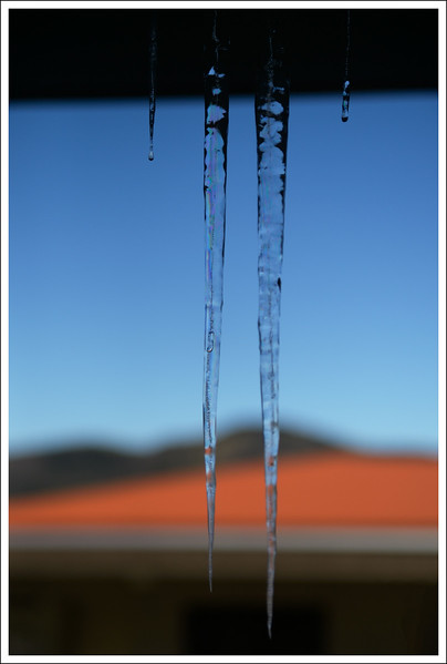 Icicles formed from condensation water coming from the hot water vent over our door.