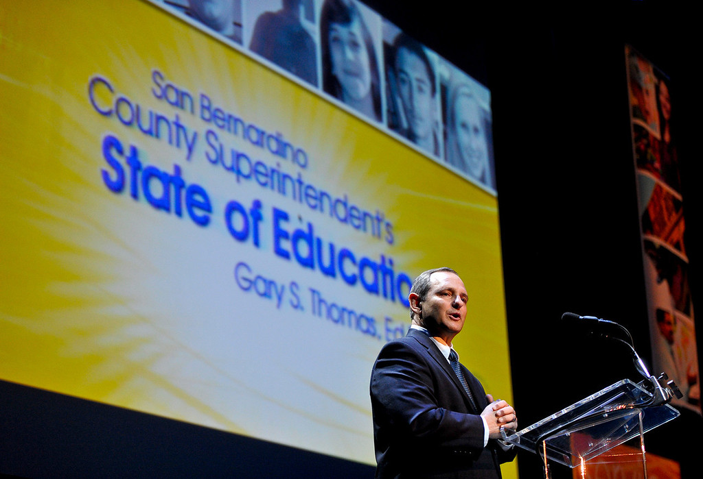 . San Bernardino County Superintendent of Schools Gary Thomas gives the 2013 State of Education address at the California Theatre of the Performing Arts in San Bernardino on Tuesday, March 5, 2013. (Rachel Luna / Staff Photographer)