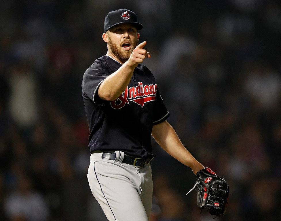 . Cleveland Indians\' Cody Allen reacts after Chicago Cubs\' Willson Contreras grounded out during the ninth inning of a baseball game Wednesday, May 23, 2018, in Chicago. The Indians won 1-0. (AP Photo/Jim Young)