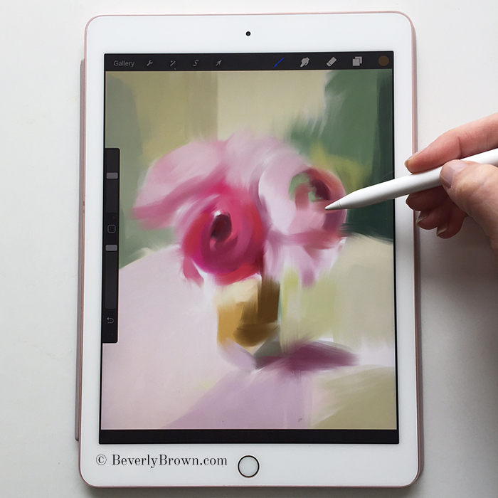 Artist Beverly Brown demonstrates her floral painting on the iPad using the ProCreate app - www.beverlybrown.com