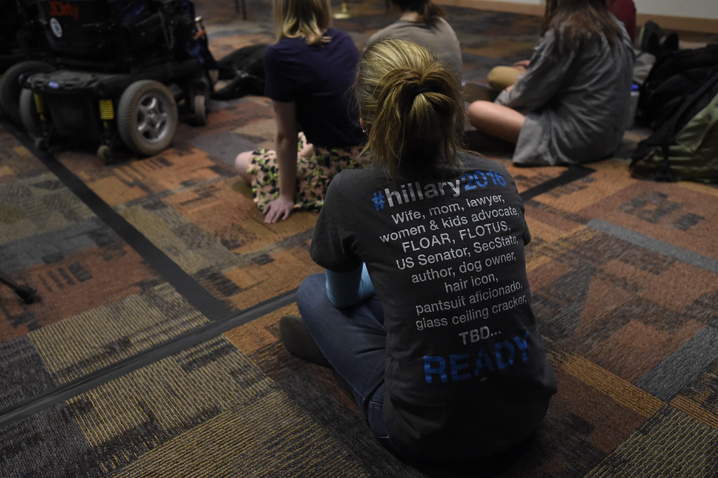 . DENVER, CO - FEBRUARY 18: Gillian Wood sits on the floor in a room of about 100 supporters and students to hear Chelsea Clinton and actress America Ferrera speak during a campaign stop for Hillary Clinton in Denver February 18, 2016 at the Anderson Academic Commons. (Photo By John Leyba/The Denver Post)