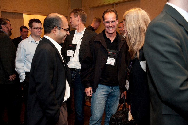 FiReStar Reception: (L-R) Sailesh Chutani, Senior Director, Windows Mobile, Microsoft; Lars Johansson, President, Energethic; Allan Stephan, CEO, Stratos; and Tricia Duryee, Principal Correspondent, mocoNews.net