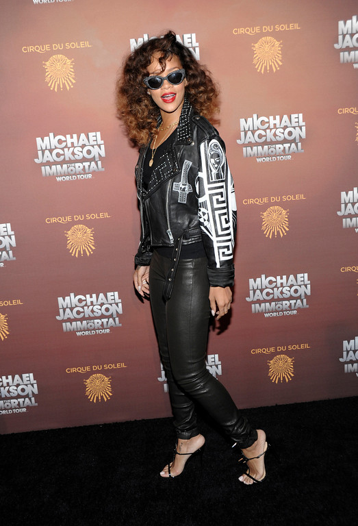 . Singer Rihanna arrives at the opening night of the Michael Jackson The Immortal World Tour in Los Angeles on Friday, Jan. 27, 2012. (AP Photo/Dan Steinberg)