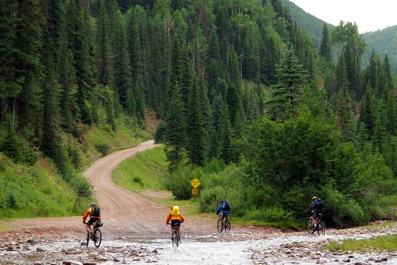 Day 1 Doug, Jo, Jean-Paul, & Andrew Crossing Upper Hermosa Creek