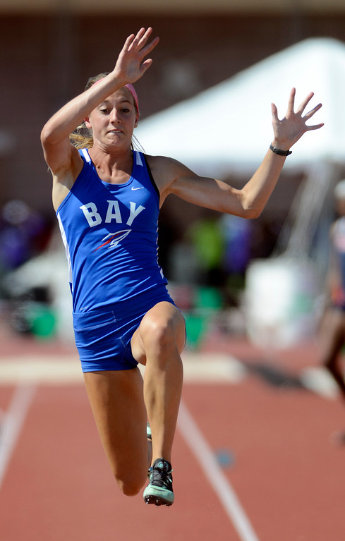 . Maribeth Joeright/MJoeright@News-Herald.com <p> Bay\'s Olivia Bechtel takes fourth place in the Division I girls long jump event during the state track and field championship meet in Columbus,  June 7, 2014.