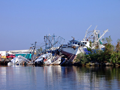 Hurricane Katrina Shrimp Boats Gulfport, Mississippi - October 2005