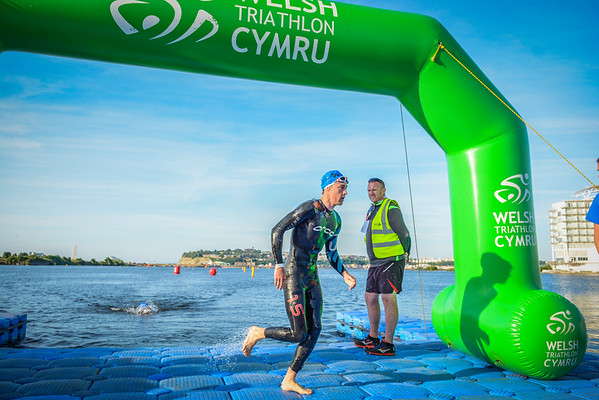 Cardiff Triathlon - Olympic Swim Exit - Blue Hats