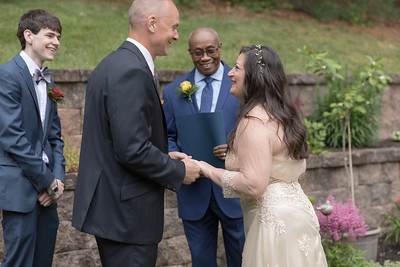 Ceremony- Carla Lomangino & Kyle Murray New Endland Wedding Photographer- East Longmeadow Back Yard Ceremony