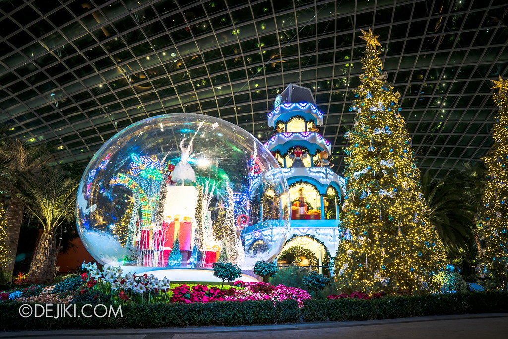 Gardens by the Bay - Merry Medley floral display - snowglobe