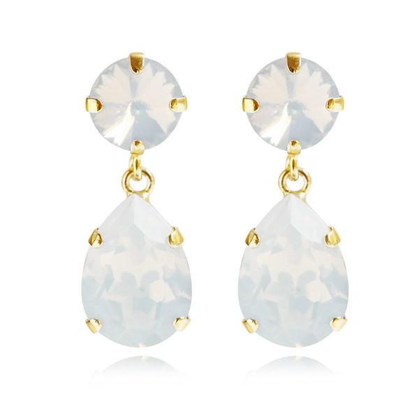 Classic Drop Earrings / White Opal Gold
