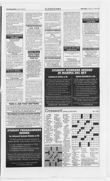 Daily Trojan, Vol. 141, No. 4, August 31, 2000