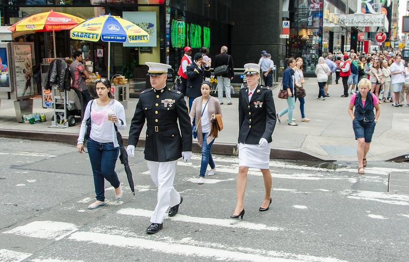 Some military event on Times Square in New York
