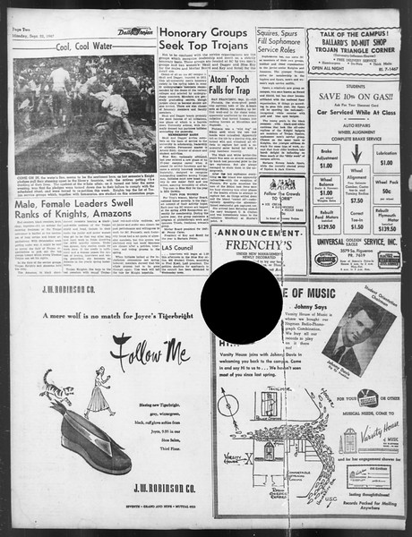 Daily Trojan, Vol. 39, No. 6, September 22, 1947