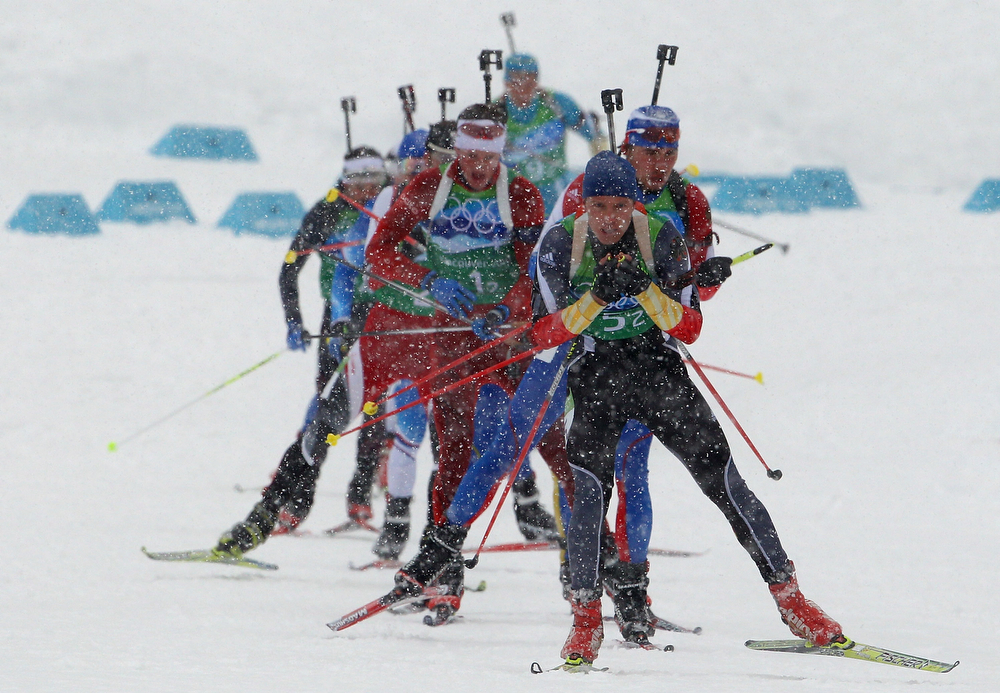 . Andreas Birnbacher of Germany leads the pack during the men\'s 4 x 7.5 km biathlon relay on day 15 of the 2010 Vancouver Winter Olympics at Whistler Olympic Park Cross-Country Stadium on February 26, 2010 in Whistler, Canada.  (Photo by Alexander Hassenstein/Bongarts/Getty Images)
